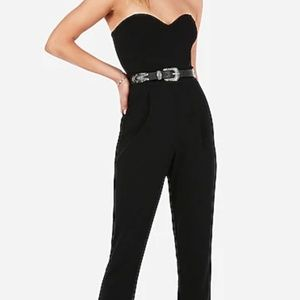 Express Strapless Sweetheart Neck Jumpsuit Black